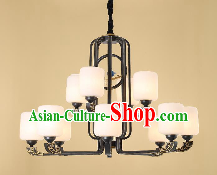 Traditional China Handmade Hanging Lantern Ancient Twelve-pieces Lanterns Palace Ceiling Lamp