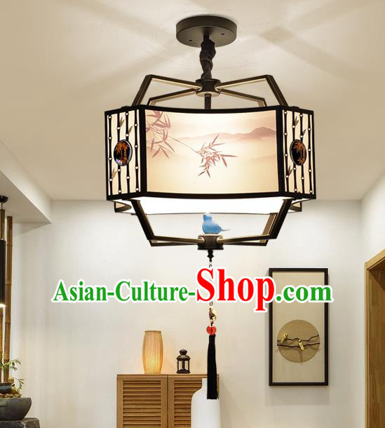 Traditional China Handmade Printing Bamboo Lantern Ancient Lanterns Palace Ceiling Lamp