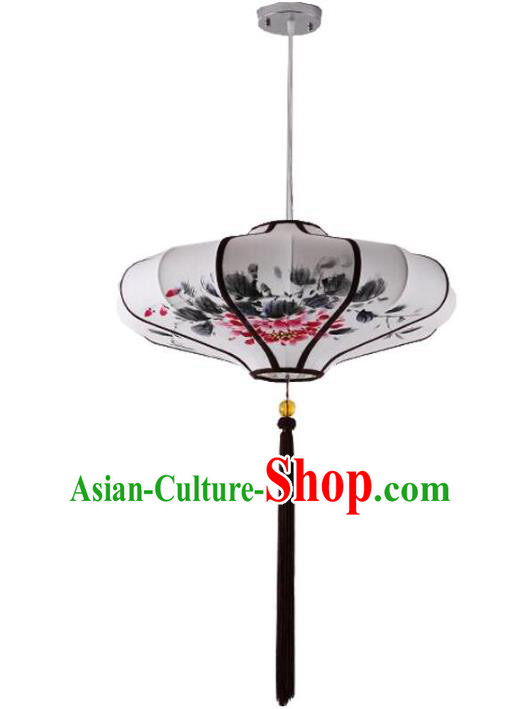 Traditional China Handmade Lantern Ancient Ink Painting Peony Hanging Lanterns Palace Ceiling Lamp
