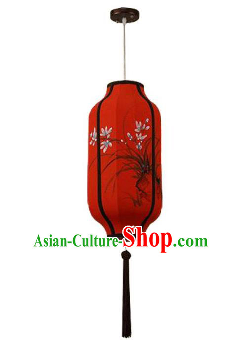 Traditional China Handmade Red Lantern Ancient Ink Painting Orchid Hanging Lanterns Palace Ceiling Lamp
