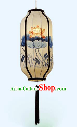 Traditional China Handmade Lantern Ancient Ink Painting Lotus Hanging Lanterns Palace Ceiling Lamp