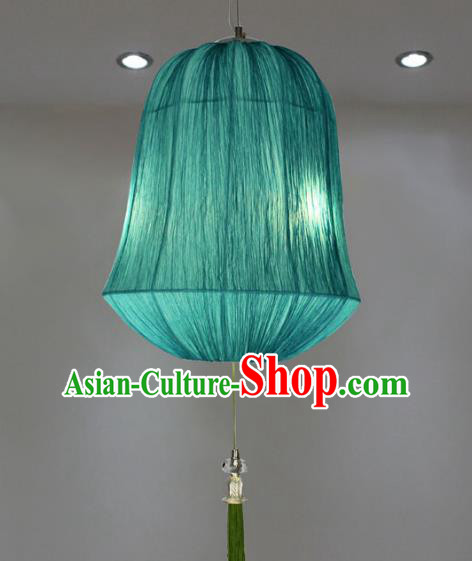 Traditional China Handmade Blue Lantern Ancient Hanging Lanterns Palace Ceiling Lamp