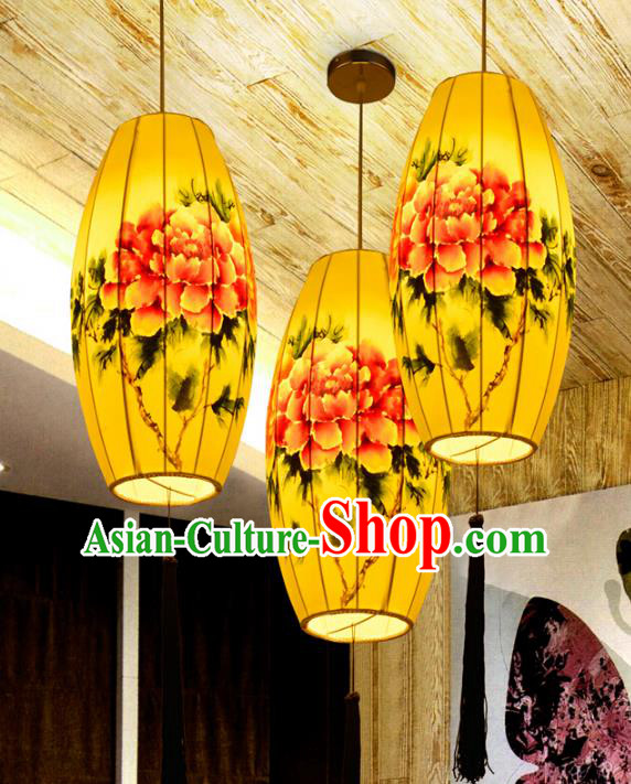 Traditional China Handmade Printing Peony Lantern Ancient New Year Hanging Lanterns Palace Ceiling Lamp