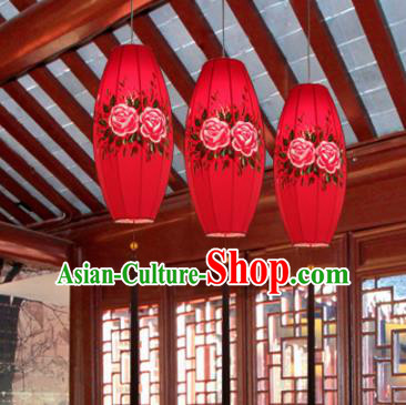 Traditional China Handmade Printing Peony Lantern Ancient New Year Red Hanging Lanterns Palace Ceiling Lamp