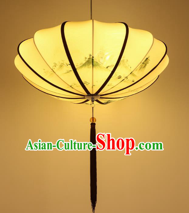 Traditional China Handmade Printing Yellow Lantern Ancient New Year Hanging Lanterns Palace Ceiling Lamp