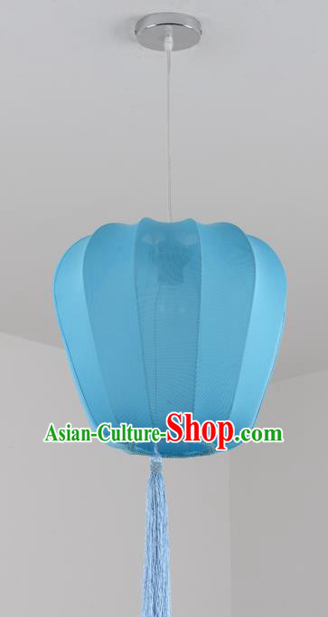 China Handmade Blue Hanging Lantern Traditional Lanterns New Year Palace Ceiling Lamp