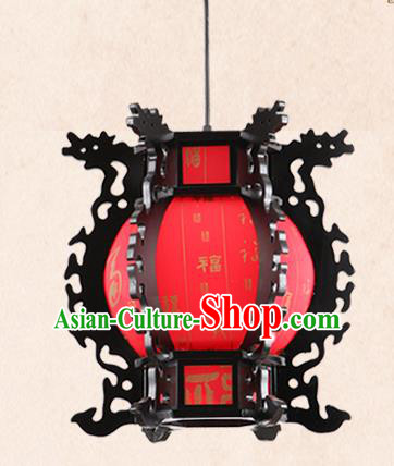 China Handmade Wood Lantern Traditional Dragon Head Lanterns Palace Hanging Lamp