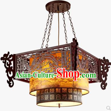 China Handmade Ceiling Lantern Traditional Wood Carving Phoenix Hanging Lanterns Palace Lamp