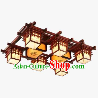 China Handmade Ceiling Lantern Traditional Wood Lanterns Palace Six-Lights Lamp