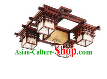 China Handmade Ceiling Lantern Traditional Wood Lanterns Palace Four-Lights Lamp