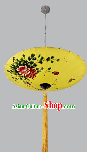 China Handmade Hanging Lantern Traditional Printing Peony Lanterns New Year Palace Ceiling Lamp