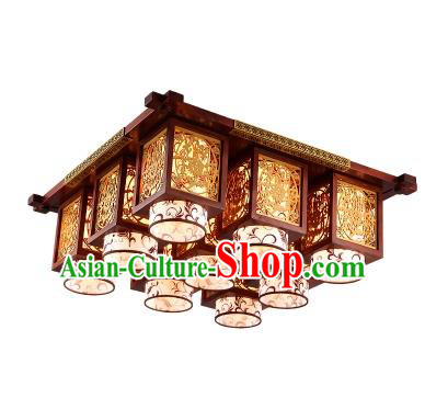 China Handmade Wood Carving Ceiling Lantern Traditional Ancient Nine-Lights Lanterns Palace Lamp
