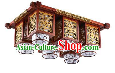 China Handmade Wood Carving Ceiling Lantern Traditional Ancient Six-Lights Lanterns Palace Lamp