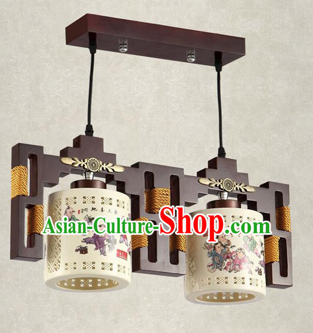 China Handmade Ceiling Lantern Traditional Ancient Printing Ceramics Two-Lights Hanging Lamp Palace Lanterns