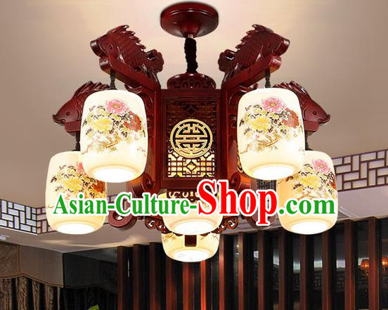 China Handmade Ceiling Lantern Traditional Ancient Porcelain Five-Lights Lamp Palace Lanterns