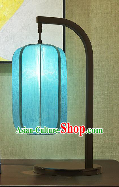 Asian China Style Lanterns Traditional Chinese Ancient Blue Desk Lamp Palace Lantern
