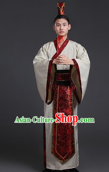 Chinese Ancient Han Dynasty Swordsman Costume Theatre Performances Clothing for Men