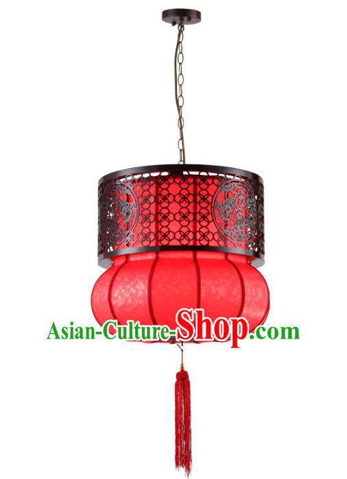 Asian China Handmade New Year Red Lantern Traditional Ancient Ceiling Lamp Hanging Palace Lanterns