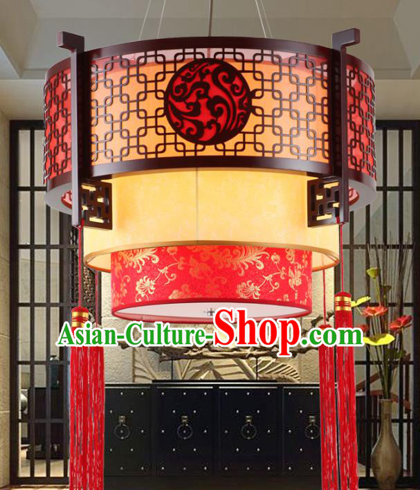 Asian China Handmade Wood Red Lantern Traditional Ancient Ceiling Lamp Hanging Palace Lanterns