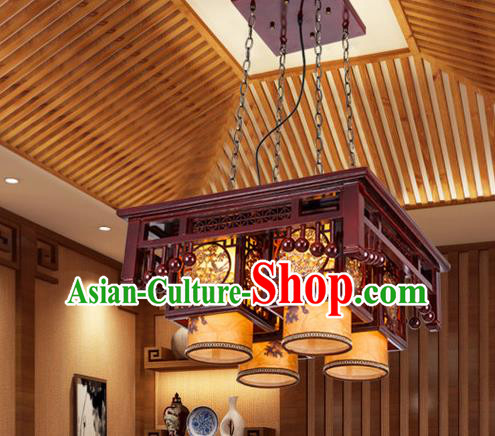 Asian China Handmade Wood Carving Lantern Traditional Ancient Ceiling Lamp Four-Lights Palace Lanterns