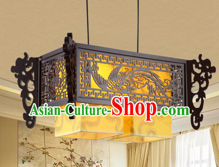 Asian China Handmade Wood Carving Phoenix Lantern Traditional Ancient Ceiling Lamp Palace Lanterns