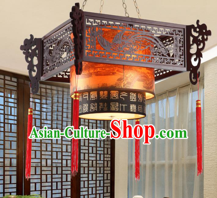 China Ancient Handmade Wood Lantern Traditional Carving Phoenix Ceiling Lamp Palace Lanterns