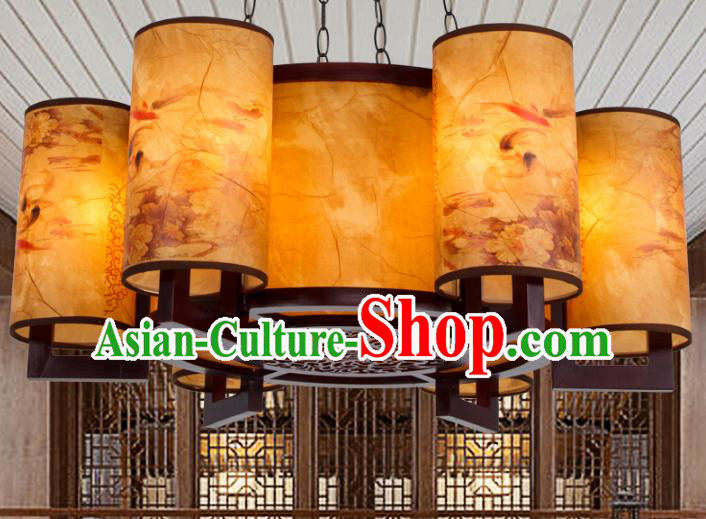 Chinese Handmade Six-Lights Lantern Traditional Palace Ceiling Lamp Ancient Hanging Lanterns