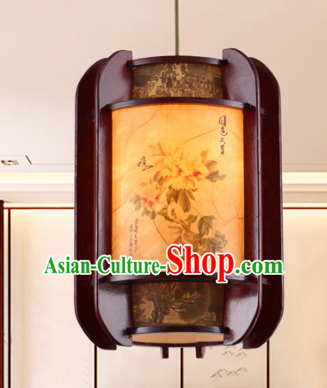 Chinese Handmade Printing Peony Lantern Traditional Palace Ceiling Lamp Ancient Hanging Lanterns