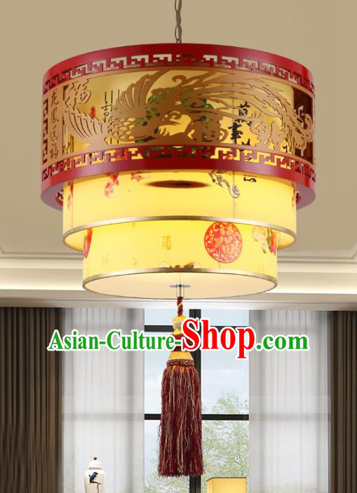 Chinese Handmade Wood Carving Phoenix Lantern Traditional Palace Ceiling Lamp Ancient Hanging Lanterns