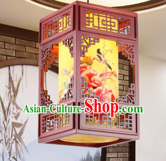Chinese Handmade Printing Peony Birds Lantern Traditional Palace Ceiling Lamp Ancient Hanging Lanterns