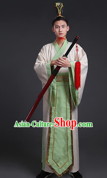 China Ancient Han Dynasty Swordsman Costume Theatre Performances Knight Clothing for Men