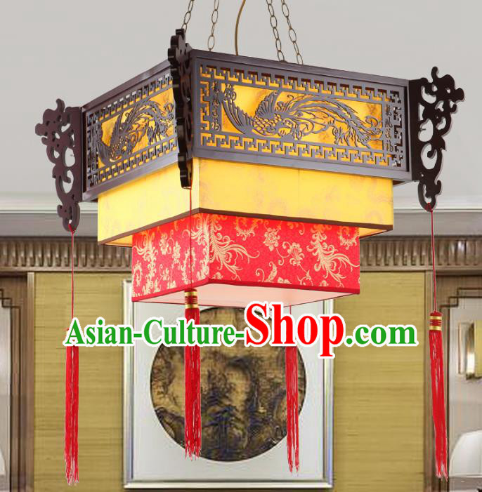 Chinese Handmade Wood Lantern Traditional Palace Parchment Hanging Ceiling Lamp Ancient Lanterns