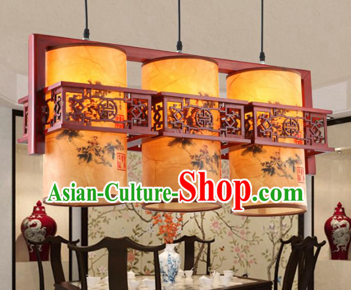 Chinese Handmade Three-Lights Hanging Lantern Traditional Palace Printing Parchment Ceiling Lamp Ancient Lanterns