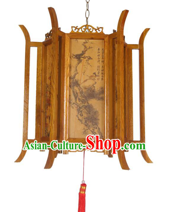 Chinese Handmade Printing Portable Hanging Lantern Traditional Palace Wood Ceiling Lamp Ancient Lanterns
