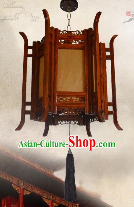 Chinese Handmade Palace Wood Hanging Lantern Traditional Lantern Festival Ceiling Lamp Ancient Lanterns