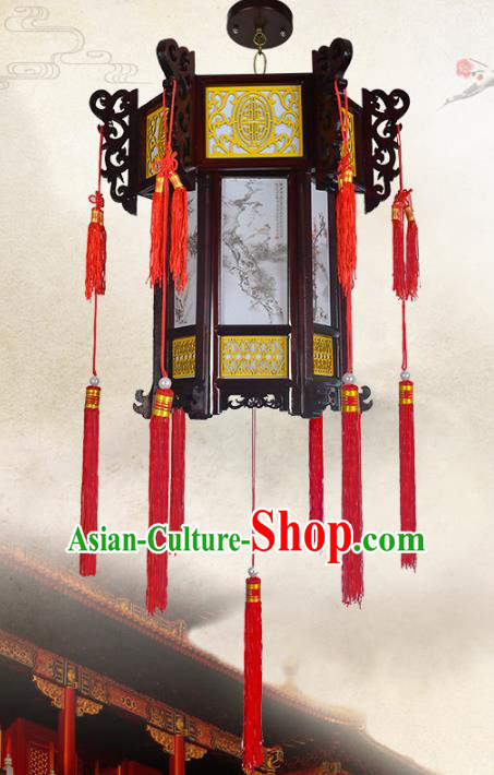 Chinese Handmade Palace Wood Printing Lantern Traditional Lantern Festival Ceiling Lamp Ancient Lanterns