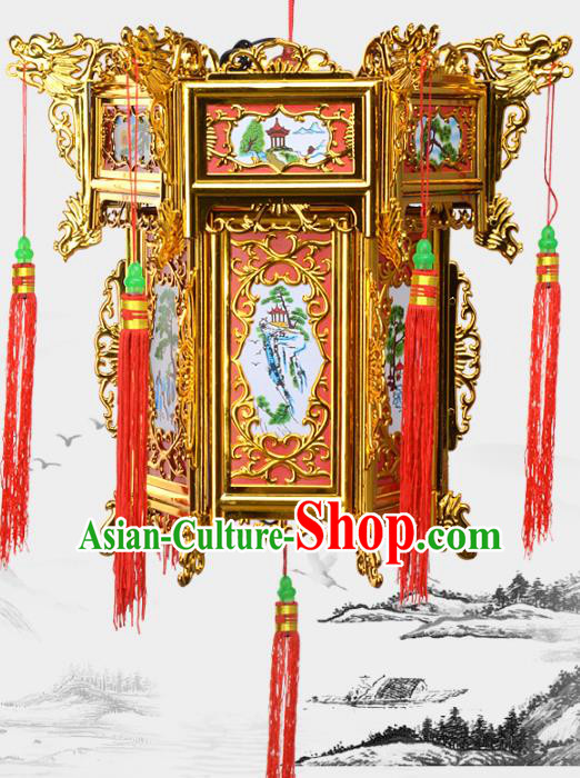 Chinese Handmade Golden Palace Lanterns Traditional New Year Hanging Lantern