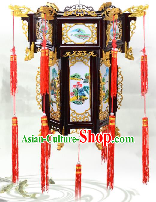 Chinese Handmade Landscape Painting Palace Lanterns Traditional New Year Hanging Lantern