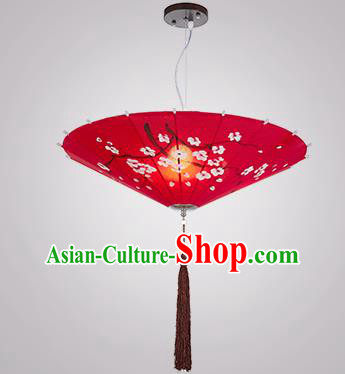 Chinese Classical Handmade Printing Umbrella Palace Lanterns Traditional Red Hanging Lantern Ancient Ceiling Lamp