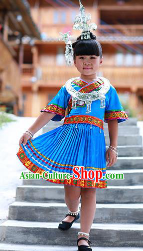 Traditional Chinese Miao Minority Nationality Costume Hmong Folk Dance Blue Dress for Kids