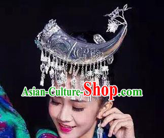 Traditional Chinese Miao Nationality Ox Horn Hairpins Hair Accessories Sliver Headwear for Women