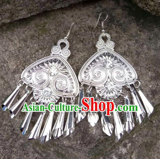 Traditional Chinese Miao Nationality Sliver Accessories Earrings for Women