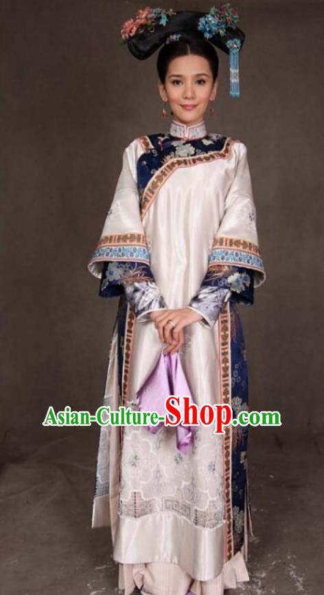 Ancient Chinese Qing Dynasty Manchu Kangxi Imperial Concubine Embroidered Historical Dress Costume for Women