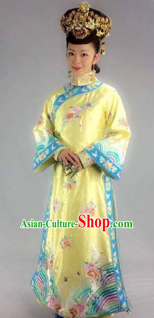 Chinese Qing Dynasty Imperial Consort of Xianfeng Historical Costume Ancient Manchu Palace Lady Clothing for Women