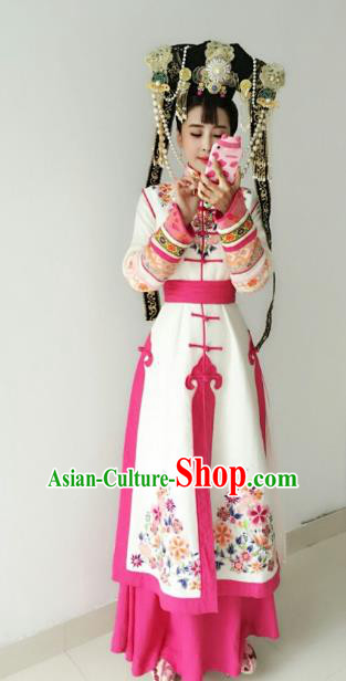 Chinese Ancient Qing Dynasty Mongolian Princess Embroidered Manchu Dress Historical Costume for Women