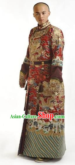 Chinese Qing Dynasty Ten Prince of Kangxi Historical Costume Ancient Manchu Prince Clothing for Men