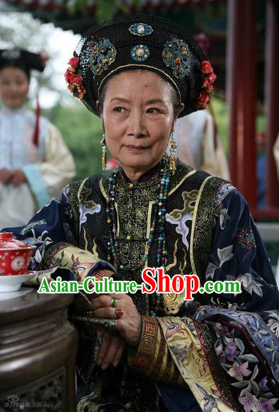 Ancient Chinese Qing Dynasty Manchu Empress Dowager Ci'Xi Embroidered Historical Costume for Women
