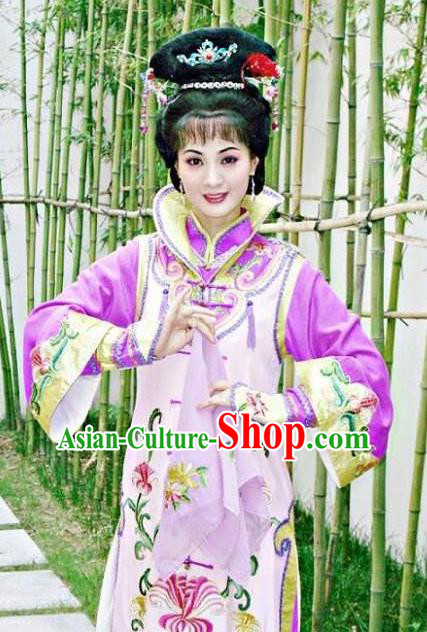 Chinese Ancient Qing Dynasty Manchu Empress Dowager Xiao Zhuang Embroidered Purple Dress Historical Costume for Women