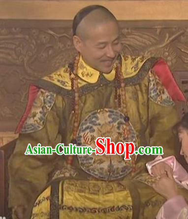 Chinese Qing Dynasty Old Emperor Kangxi Historical Costume China Ancient Manchu King Clothing