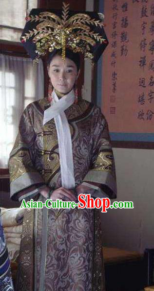 Chinese Qing Dynasty Last Empress Dowager Cixi Historical Costume Ancient Manchu Queen Mother Dress for Women